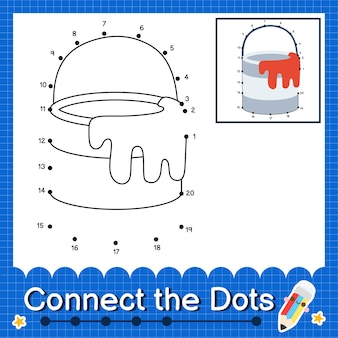 Barattoli di vernice i bambini collegano il foglio di lavoro dei punti per i bambini che contano i numeri da 1 a 20