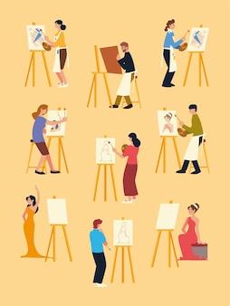 Lezione di pittura, uomini e donne che dipingono su tela al set da cavalletto
