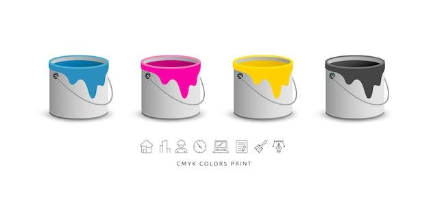 Dipingi lattine colorate con icone di affari.