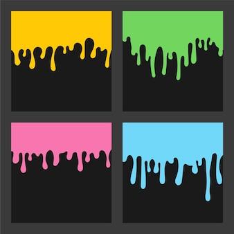 Set colorato di sfondo gocciolante di vernice