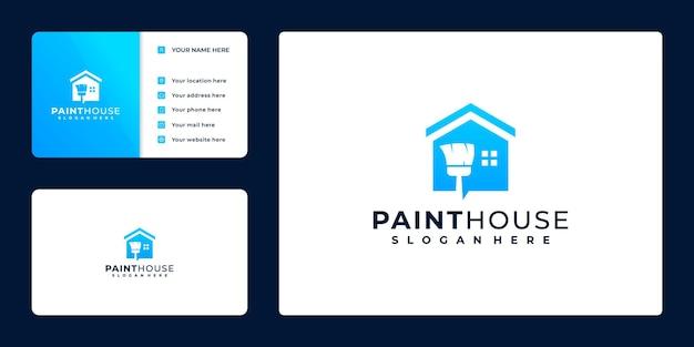Dipingi il logo della casa, il design del biglietto da visita, con il secchio della vernice di concetto e la casa,