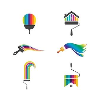 Disegno dell'illustrazione dell'icona di vettore del modello di logo della vernice