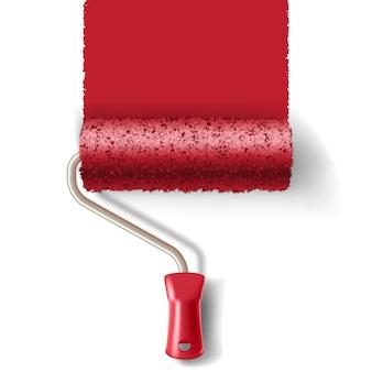 Pennello a rullo con vernice rossa traccia isolata su sfondo bianco