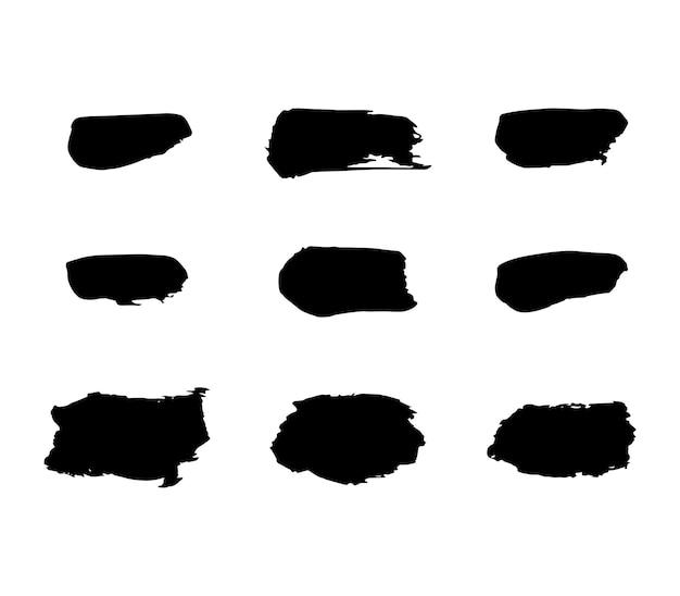 Set di sfondi per pennellate di macchie di vernice. elementi di disegno vettoriale artistico sporchi per testo, etichette, logo. adesivi hipster, timbro grunge pennello