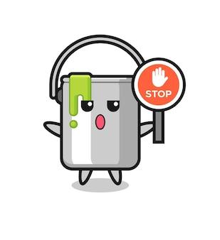 Illustrazione del personaggio di latta di vernice che tiene un segnale di stop, design in stile carino per t-shirt, adesivo, elemento logo