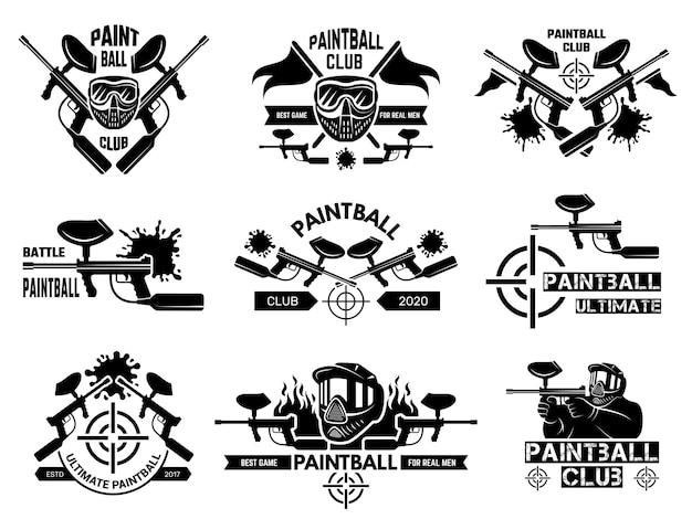 Distintivi di paintball. scudi sportivi con pistola sparatutto con armi e modello vettoriale bersaglio. logo, distintivo ed emblema di sport di paintball dell'illustrazione
