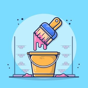 Pennello e illustrazione della benna. pittura, pennello, secchio, colore, muro, schizzi, liquido. stile cartone animato piatto