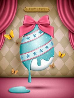 Uovo di pasqua dipinto con decorazione a nastro rosa, illustrazione di sfondo del palco
