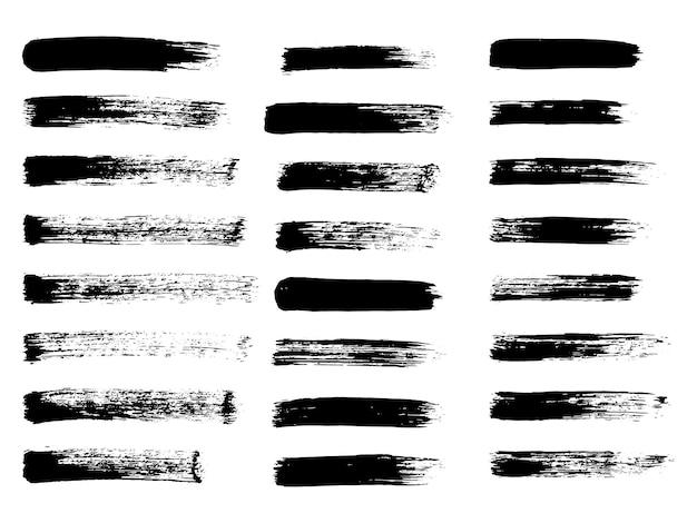 Strisce dipinte grunge etichette nere sfondo vernice texture pennellate vettore design fatto a mano el...