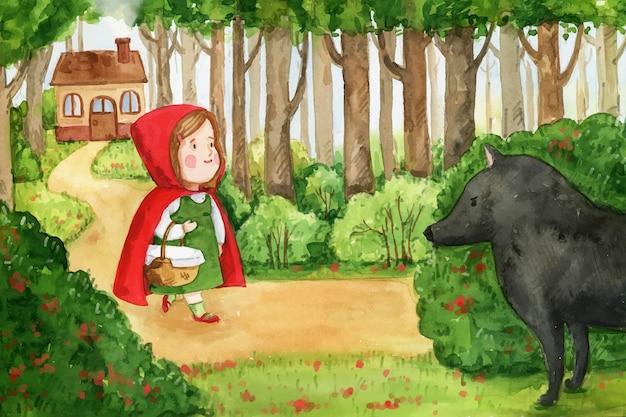 Illustrazione dipinta di racconto cappuccetto rosso
