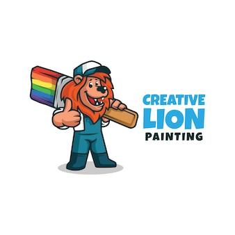 Un leone del personaggio dei cartoni animati del tuttofare del decoratore del pittore che tiene un pennello. logo della mascotte del pittore del leone che fa i pollici in su ..