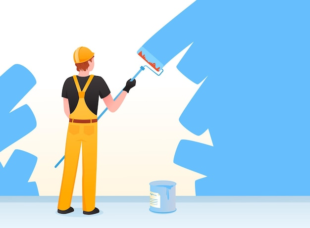 Pittore decoratore riparatore. cartoon uomo riparazione operaio pittura casa muro appartamento con vernice blu
