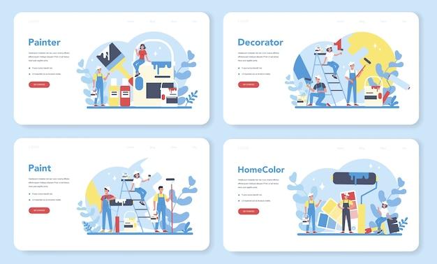 Pittore, banner web decoratore o set di pagine di destinazione. le persone in uniforme dipingono il muro con un rullo di vernice. concetto di processo di aggiornamento e riparazione. persona sul lavoro.