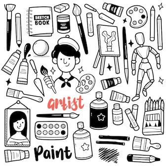 Illustrazione di scarabocchio in bianco e nero delle attrezzature del pittore