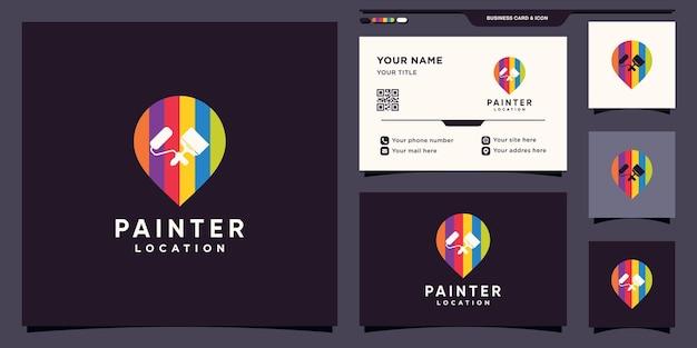 Modello di progettazione del logo del pittore con posizione del punto pin e design del biglietto da visita
