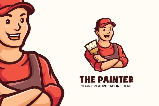 Logo mascotte uomo pittore