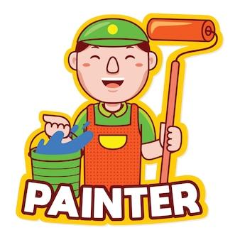 Vettore di logo della mascotte di professione del pittore nello stile del fumetto