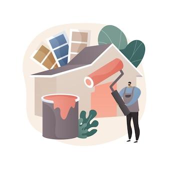 Illustrazione astratta di servizi di pittore in stile piano