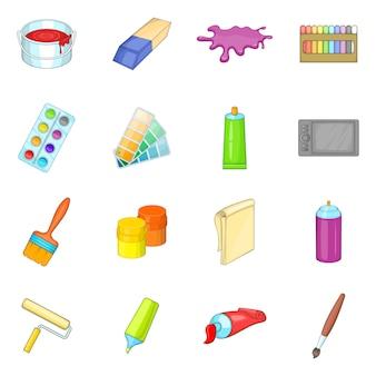 Set di icone di strumenti del pittore