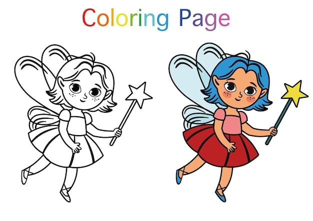 Attività di pittura per bambini simpatico personaggio fata illustrazione vettoriale