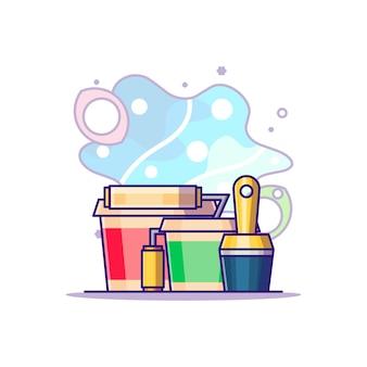 Illustrazione del fumetto dell'attrezzatura della pittura. concetto di festa del lavoro bianco isolato. stile cartone animato piatto
