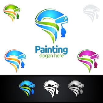 Logo di pittura con pennello e concetto di cerchio colorato