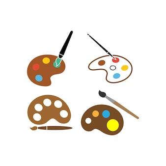 Modello di set di icone della tavolozza di pittura