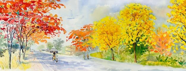 Pittura ad acquerello paesaggio colorato di rosso rosa giallo alberi stagione autunnale illustrazione vettoriale