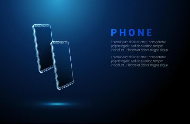 Coppia di telefoni blu astratti. concetto di messaggero. design in stile low poly. sfondo geometrico. struttura di connessione della luce wireframe. grafica 3d moderna. illustrazione vettoriale.