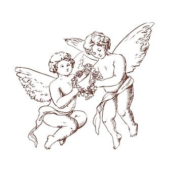 Coppia di simpatici angioletti che trasportano corona floreale insieme disegnati a mano con linee di contorno