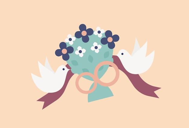 Coppia di colombe volanti o uccelli che trasportano un elegante bouquet da sposa o un mazzo di fiori decorato da anelli e nastri
