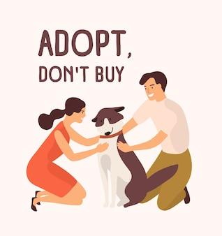 Coppia di uomo felice e donna che abbraccia il simpatico cane e adotta il messaggio di non comprare.