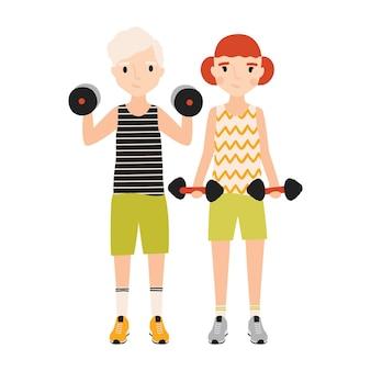 Coppia di ragazzi vestiti in abiti sportivi facendo esercizio con bilancieri isolati su sfondo bianco.