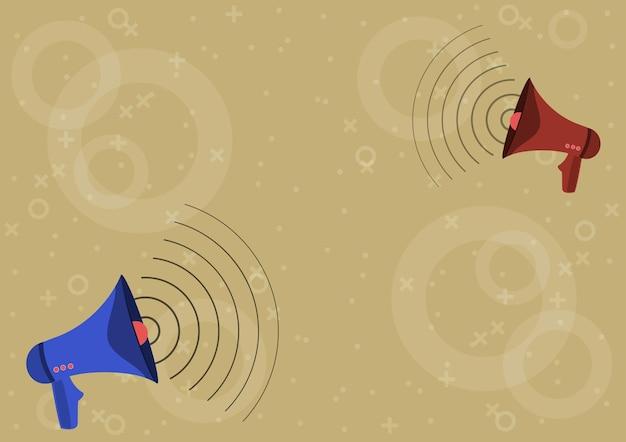 Coppia di megafoni disegno producendo onde sonore facendo nuovo annuncio. bullhorns disegno facendo modulazione di frequenza che promuovono annunci pubblicitari tardivi.