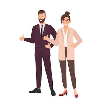 Coppia di impiegati in piedi insieme e dimostrando pollice in alto gesto della mano. professionisti o colleghi di sesso maschile e femminile.