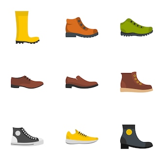 Set di icone di paio di scarpe. set piatto di 9 icone paio di scarpe