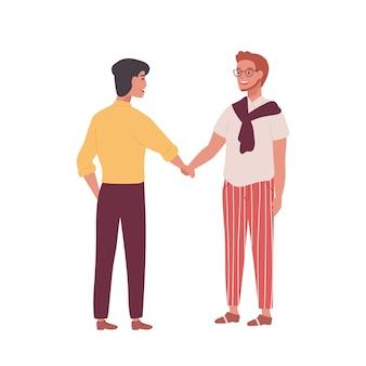 Coppia di uomini sorridenti, uomini d'affari o impiegati che si stringono la mano isolati su bianco