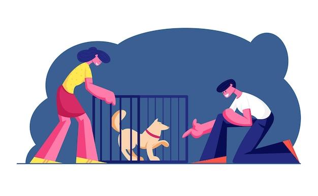 Coppia di sorridente giovane uomo e donna che adotta animali da riparo. cartoon illustrazione piatta