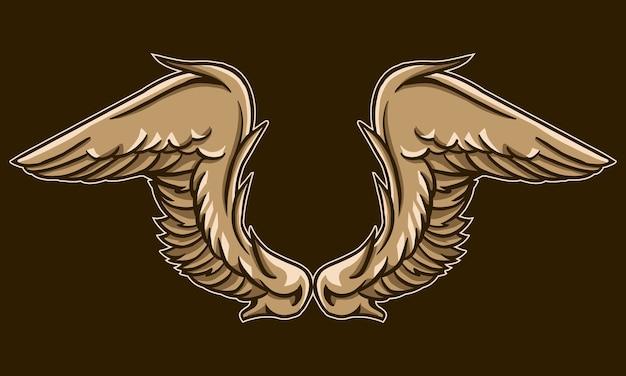 Coppia di ali design isolato su colore marrone