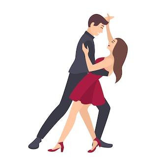 Coppia di giovane uomo e donna vestita in abiti eleganti danza salsa su sfondo bianco.