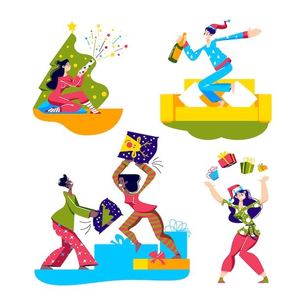 Pigiama party con personaggi dei cartoni animati in pigiama che celebrano le vacanze e restano per il pigiama party.