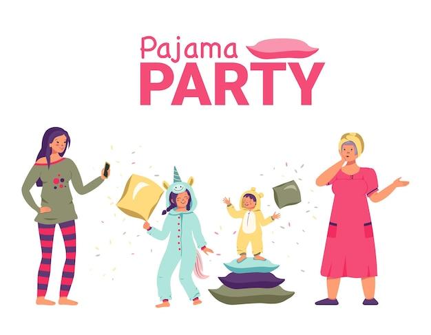 Pigiama party con bambini mamma e nonna vacanza in famiglia battaglia di cuscini weekend gioioso bambini divertenti...