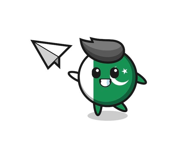 Personaggio dei cartoni animati della bandiera del pakistan che lancia aeroplano di carta, design carino