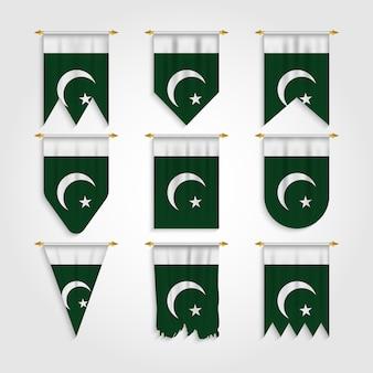Bandiera del pakistan in diverse forme, bandiera del pakistan in varie forme