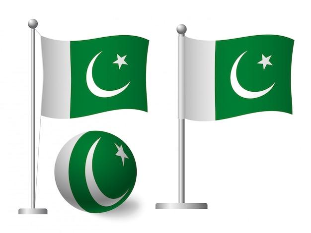 Bandiera del pakistan sull'icona palo e palla