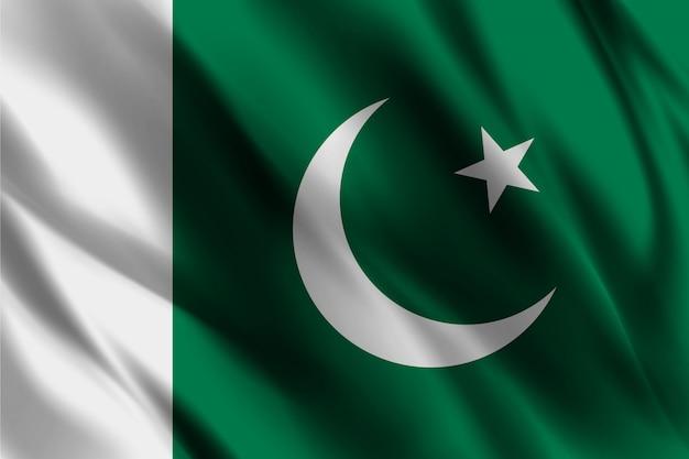 Bandiera del pakistan nel modello di sfondo seta del vento