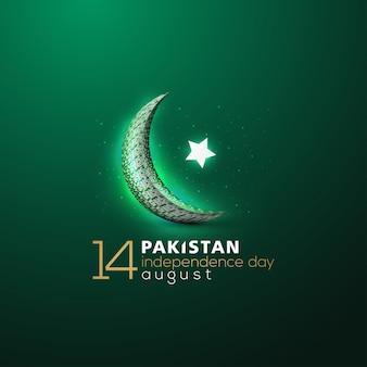 Giorno dell'indipendenza del pakistan 14 agosto saluto sfondo disegno vettoriale con calligrafia araba