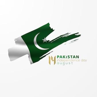 Giorno dell'indipendenza del pakistan 14 agosto saluto disegno vettoriale di sfondo con bandiera