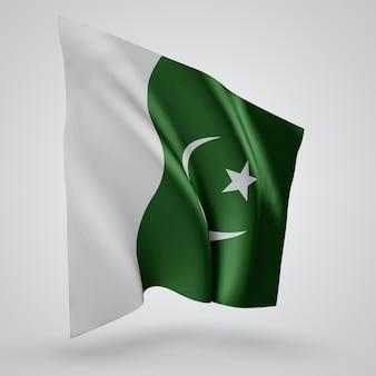 Pakistan, bandiera vettoriale con onde e curve che fluttuano nel vento su uno sfondo bianco.