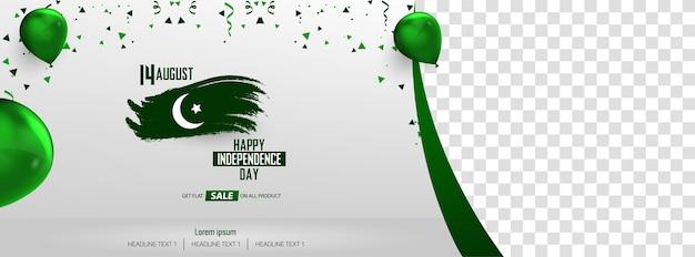 Banner di vendita del giorno dell'indipendenza pakistana